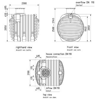 Regenwassertank Technische Zeichnung GREENLIFE